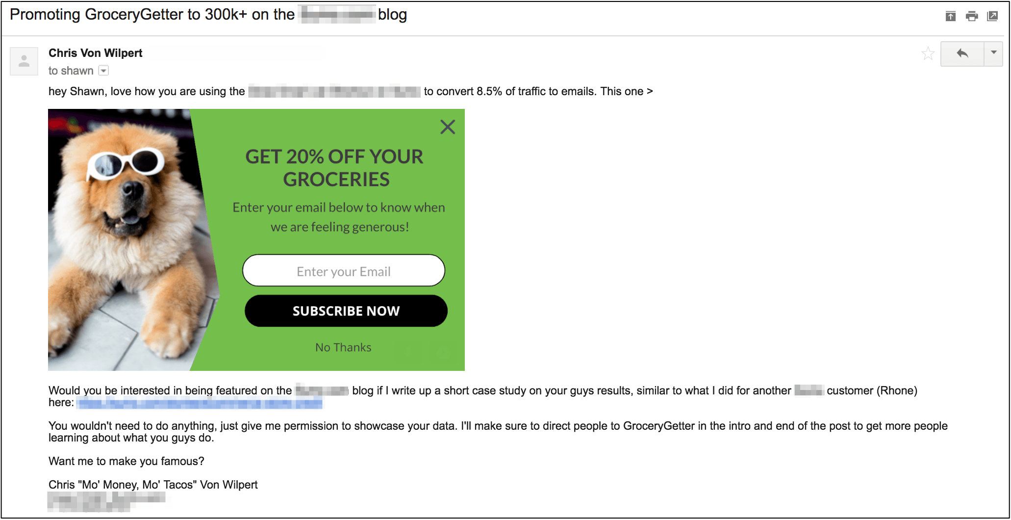email sent by Chris Von Wilpert to Shawn about promoting GroceryGetter on the Sumo blog