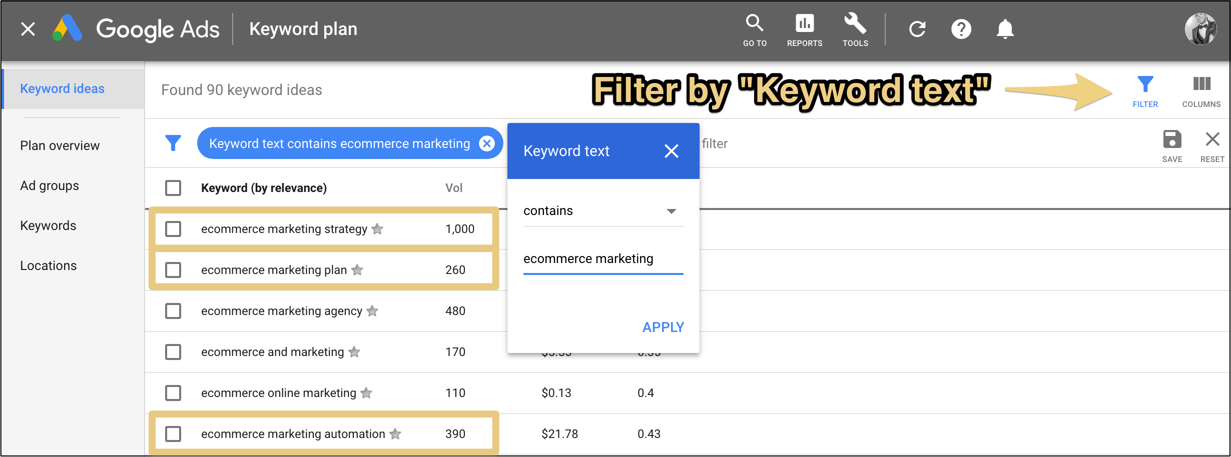 google keyword planner with keyword text containing ecommerce marketing