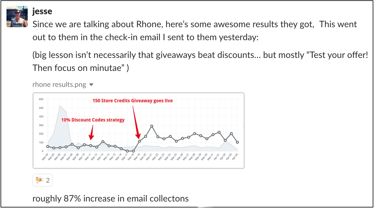 slack message of Jesse talking about Rhone's email lead results
