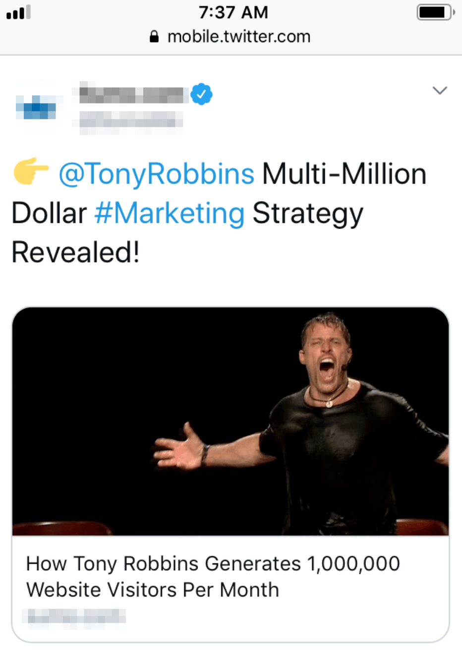 tony robbins twitter ad mobile image