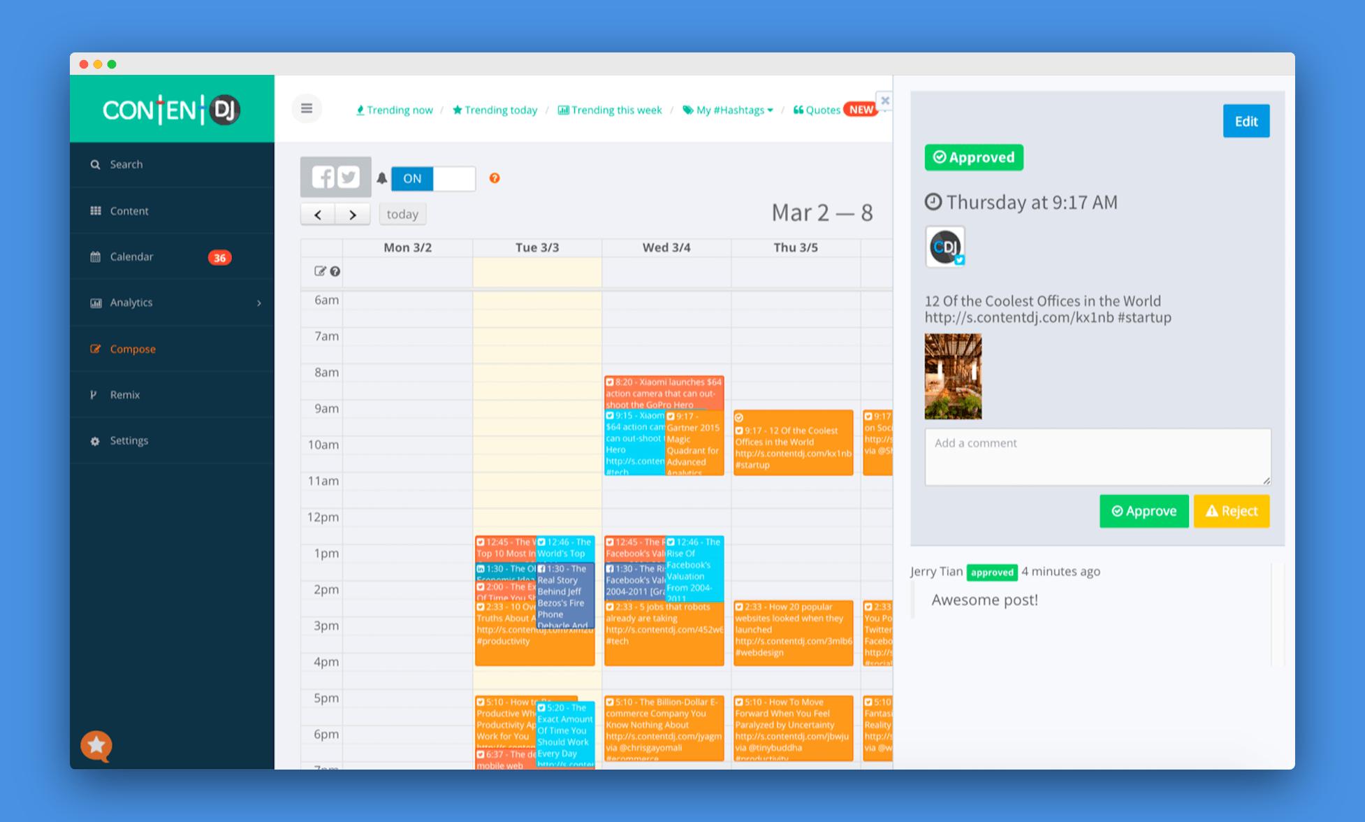 content dj editorial calendar