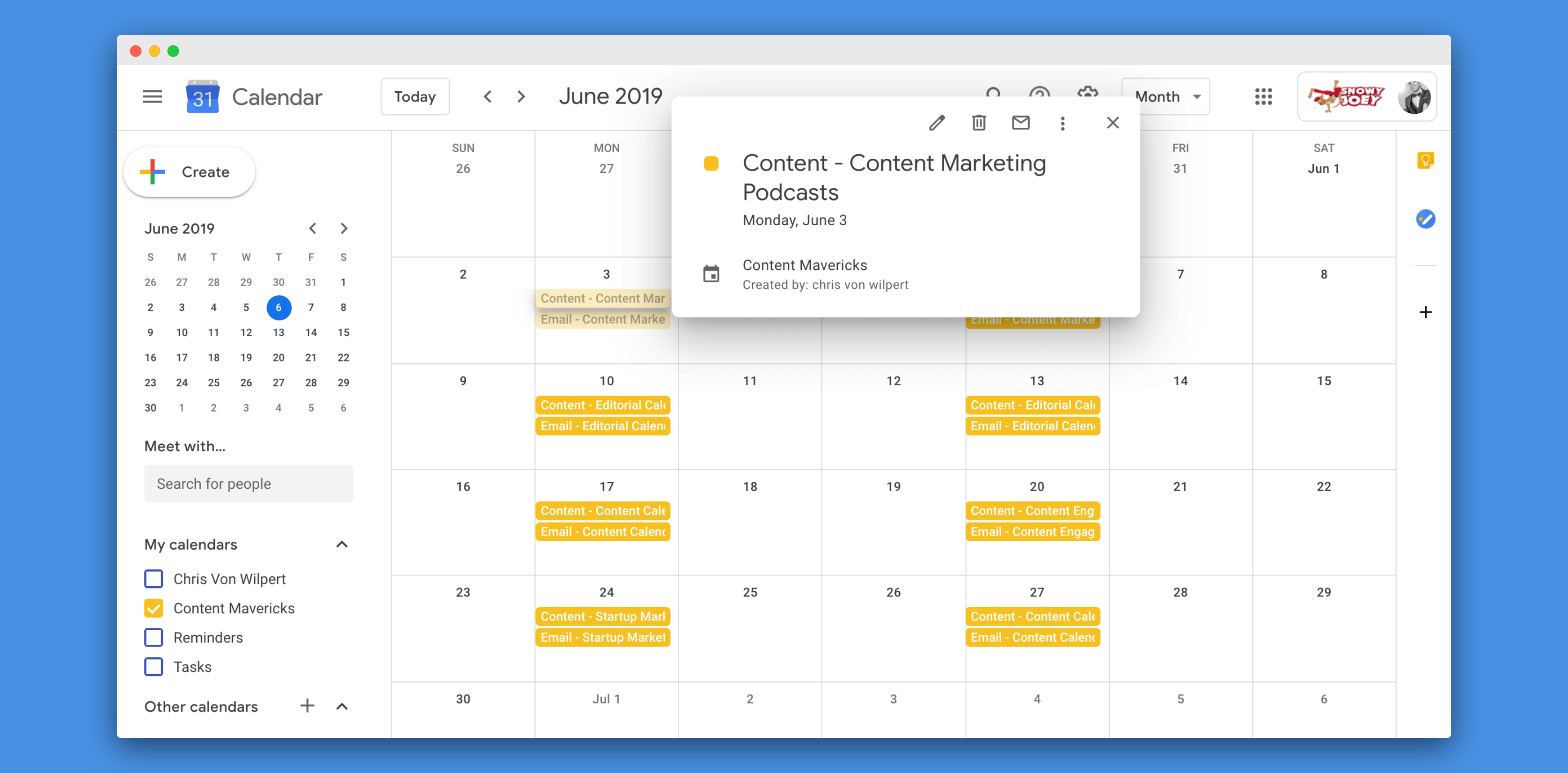 google editorial calendar