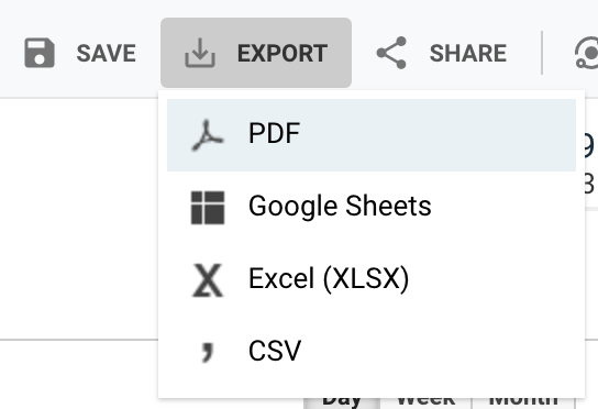 google analytics export pdf image