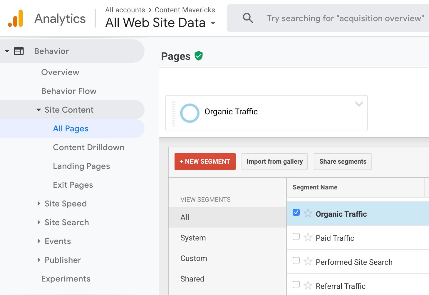 google analytics organic traffic image