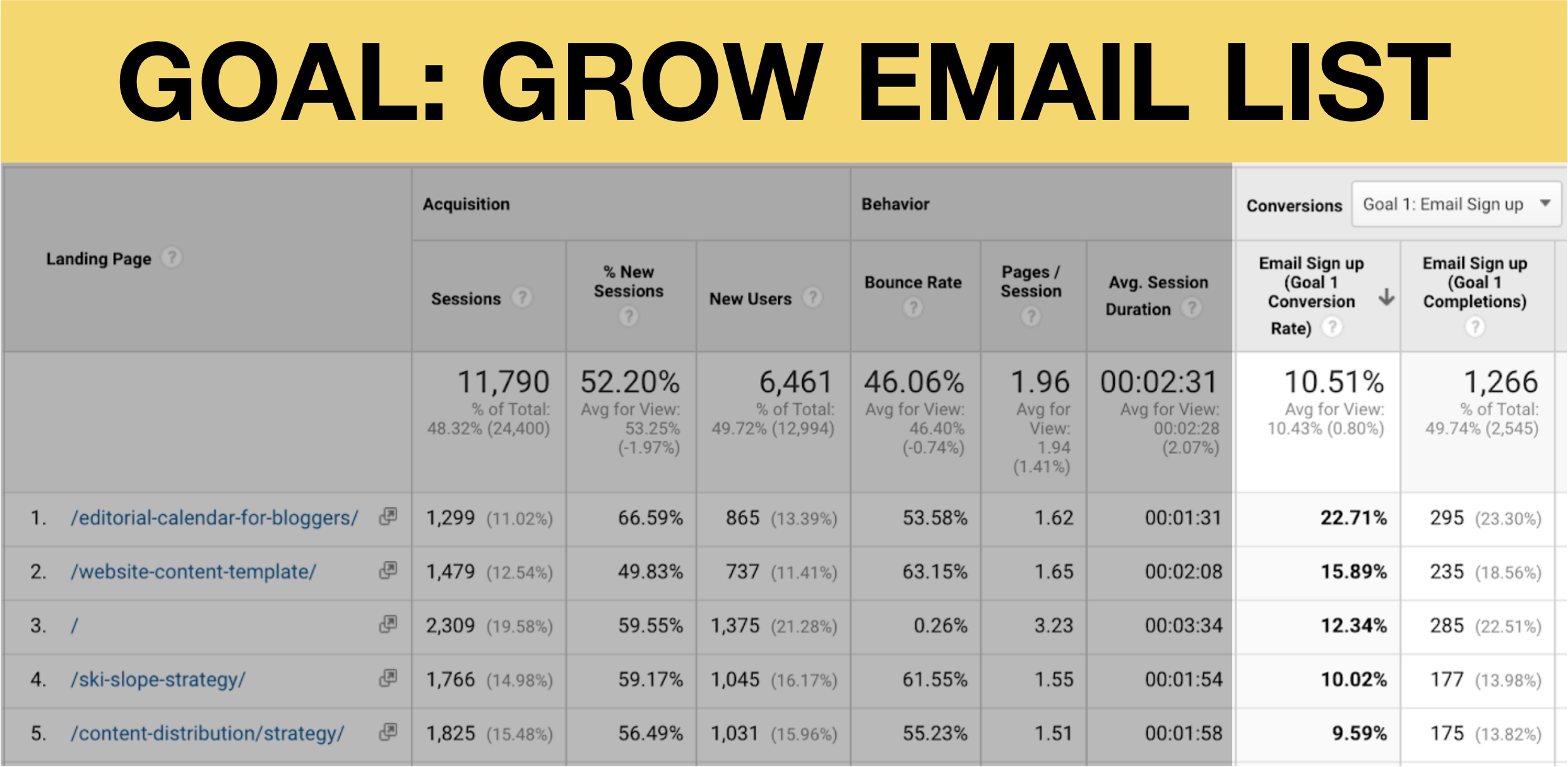 grow email list goal image