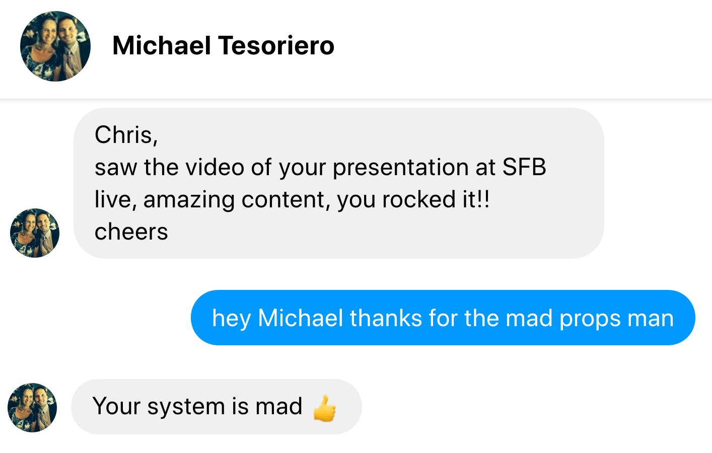 testimonial michael tesoriero