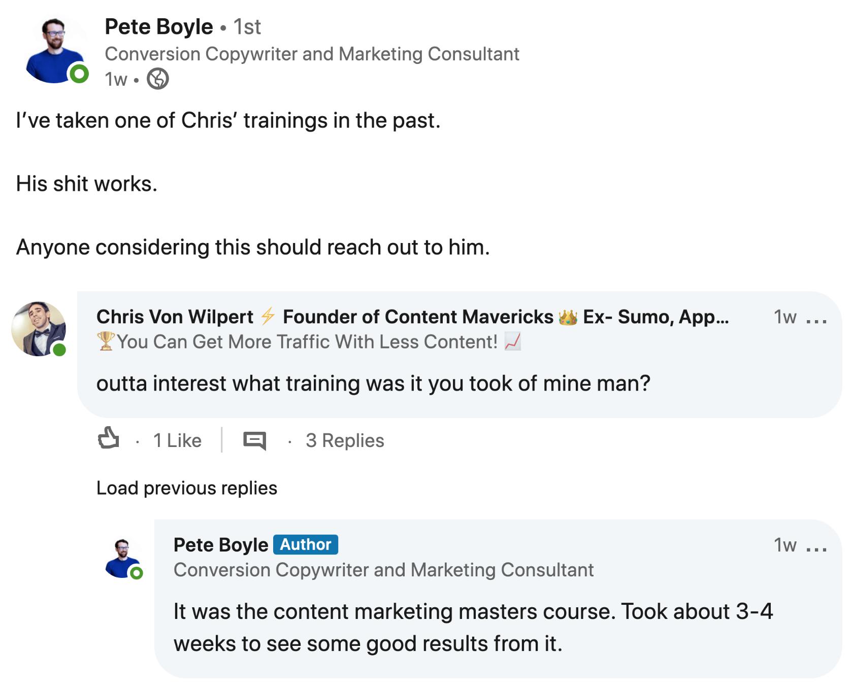 testimonial pete boyle