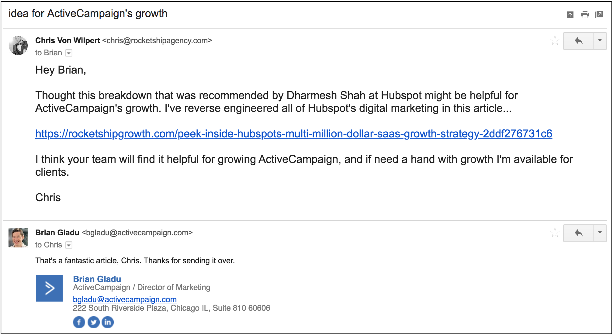 dream 100 email to ActiveCampaign Director of Marketing