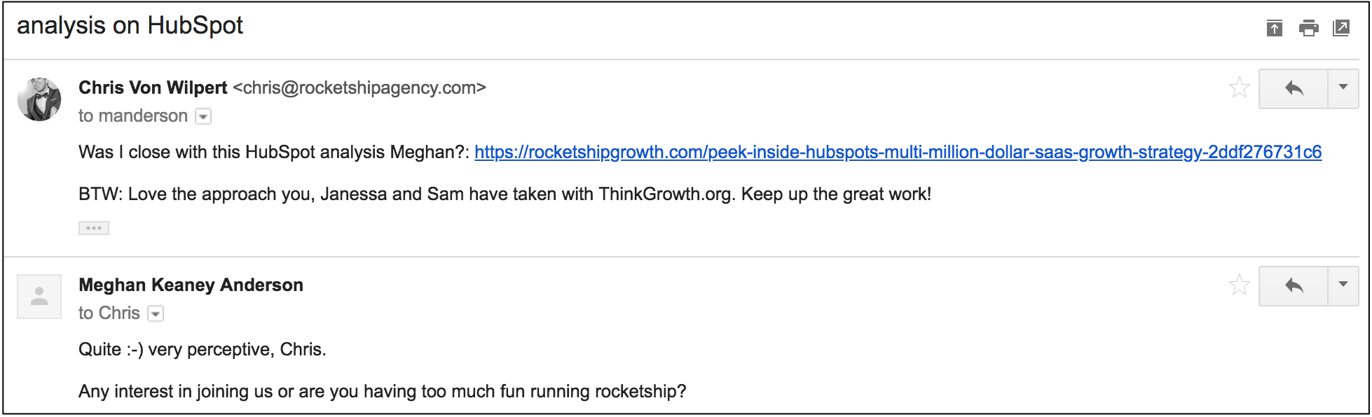 dream 100 email to HubSpot VP of Marketing