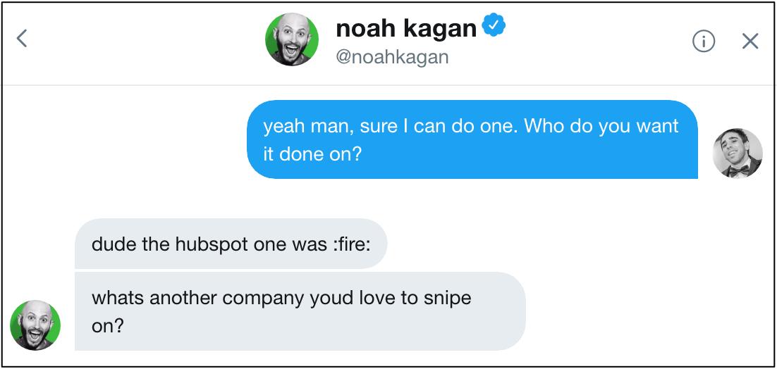 noah kagan blog post topic twitter message