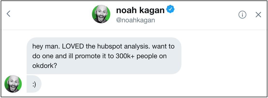 noah kagan hubspot twitter message
