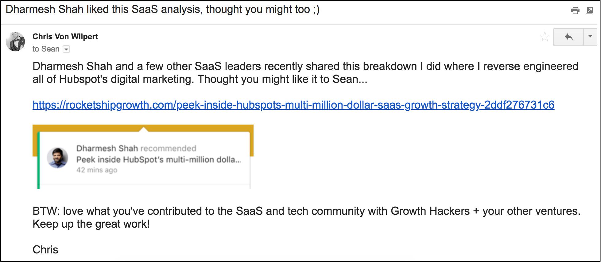 dream 100 influencers email to Sean Ellis