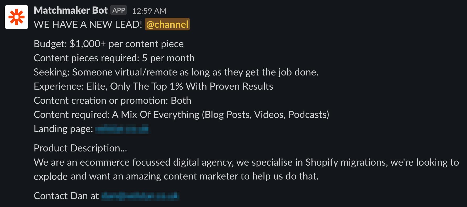 content lead dan